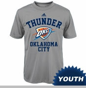 Oklahoma City Thunder adidas Youth Stand Logo Performance Tee - Grey