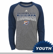 Oklahoma City Thunder adidas Youth Team Pride Long Sleeve Raglan Triblend Tee - Grey/Navy