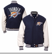 Oklahoma City Thunder JH Design Wool Jacket with Leather Sleeves - Navy/White