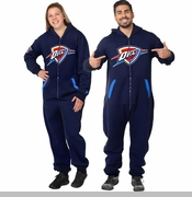 Oklahoma City Thunder Klew Adult One-Piece NBA Sport Suit - Blue