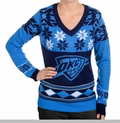 Oklahoma City Thunder Klew Women's V-neck Big Logo Ugly Sweater - Blue