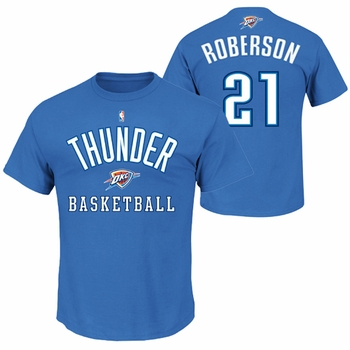 Oklahoma City Thunder Majestic Andre Roberson #21 Name and Number Tee - Blue - Click to enlarge