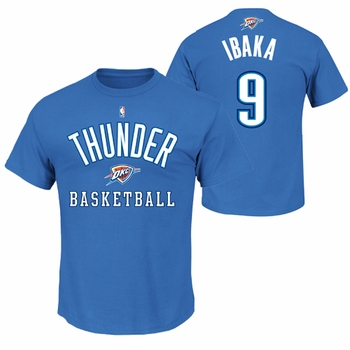 Oklahoma City Thunder Majestic Serge Ibaka #9 Name and Number Tee - Blue - Click to enlarge