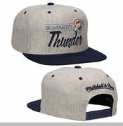Oklahoma City Thunder Mitchell & Ness City Bar Script Snapback Cap - Grey