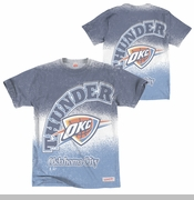 Oklahoma City Thunder Mitchell & Ness OKC Logo Spray Paint Tee - Blue