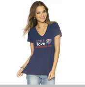 Oklahoma City Thunder PLW Women's Peace Love Logo Short Sleeve Tee - Navy
