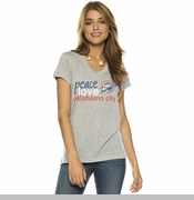 Oklahoma City Thunder PLW Women's Peace Love Logo V-neck - Heather