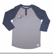 Oklahoma City Thunder Sportiqe Clark Henley Long Sleeve Tee - Grey