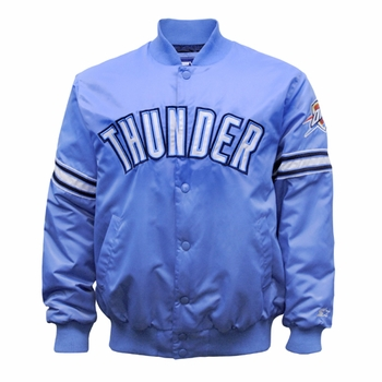 Oklahoma City Thunder Starter Snap Button Front Satin Jacket - Light Blue - Click to enlarge