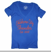 Oklahoma City Thunder Women's Vintage V Neck Tee - Blue