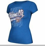 Oklahoma City Thunder Womens Adidas Ghost Tail Slant 2014 Playoff Tee - Blue