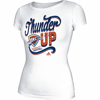 Oklahoma City Thunder Womens Adidas Swirl Around Tee - White - Click to enlarge