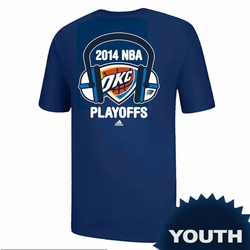 Oklahoma City Thunder Youth 2014 Playoffs Headphones Tee - Royal - Click to enlarge