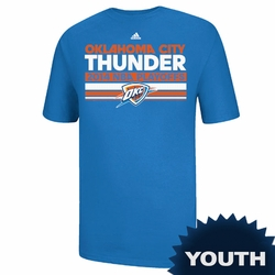 Oklahoma City Thunder Youth Adidas Mesh Bar 2014 Clinch Tee - Blue - Click to enlarge