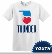 Oklahoma City Thunder Youth We Heart Thunder Tee - White