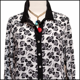 Flat Iron Blouse-Black/White Gingko
