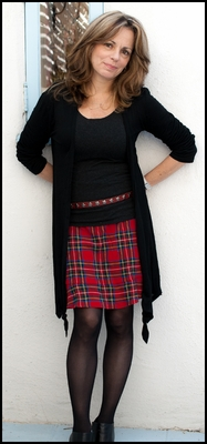 Flounce Skirt-Red Plaid