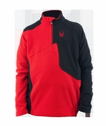 Spyder Speed Fleece Top in Black/Volcano Red