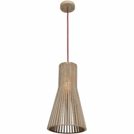 Access 23774-WD-nAT Kobu Contemporary Wood / Natural Finish 9.75  Wide Mini Hanging Pendant Light