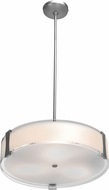 Access 50123LED-BS-OPL Tara Contemporary Brushed Steel & Opal Glass LED Drum Hanging Pendant Light