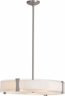 Access 50124LED-BS-OPL Tara Modern Brushed Steel & Opal Glass LED Drum Pendant Hanging Light