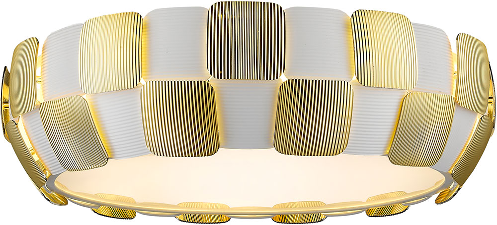 Access 50902 Wh Gld Layers Modern Gold Amp White Acrylic Fluorescent Flush Mount Ceiling Light
