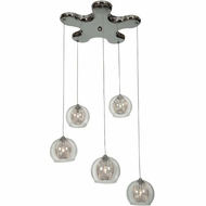 Access 52076-CH-CLR Aeria Contemporary Chrome Finish 14  Wide Halogen Multi Ceiling Light Pendant