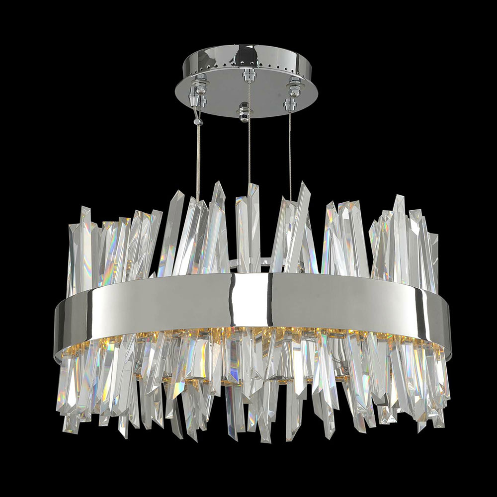 Allegri 030253 Glacier Modern Chrome Led 20 Quot Drum Pendant Lighting All 030253