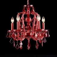 Avenue Lighting HF1037-RED Crimson Blvd. Crystal Red Finish 22  Tall Mini Chandelier Lamp