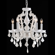 Avenue Lighting HF1037-WHT Casablanca Way Crystal White Finish 18  Wide Mini Chandelier Light