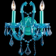 Avenue Lighting HF1041-BLU Ocean Dr. Crystal Aqua Blue Finish 12  Wide Wall Lamp