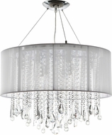 Avenue Lighting HF1500-WHT Beverly Dr. White Silk String Finish 20  Tall Halogen Drum Hanging Pendant Lighting