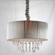 Avenue Lighting HF1506-SLV Vineland Ave. Silver Silk String Finish 17  Tall Drum Hanging Lamp