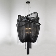 Avenue Lighting HF1610-BLK Wilshire Blvd. Black Chrome Finish 36  Wide Hanging Light Fixture