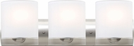 Besa 3WZ-CELTICCL-LED-SN Celtic Contemporary Satin Nickel Opal Glossy/Clear LED 3-Light Bathroom Vanity Lighting