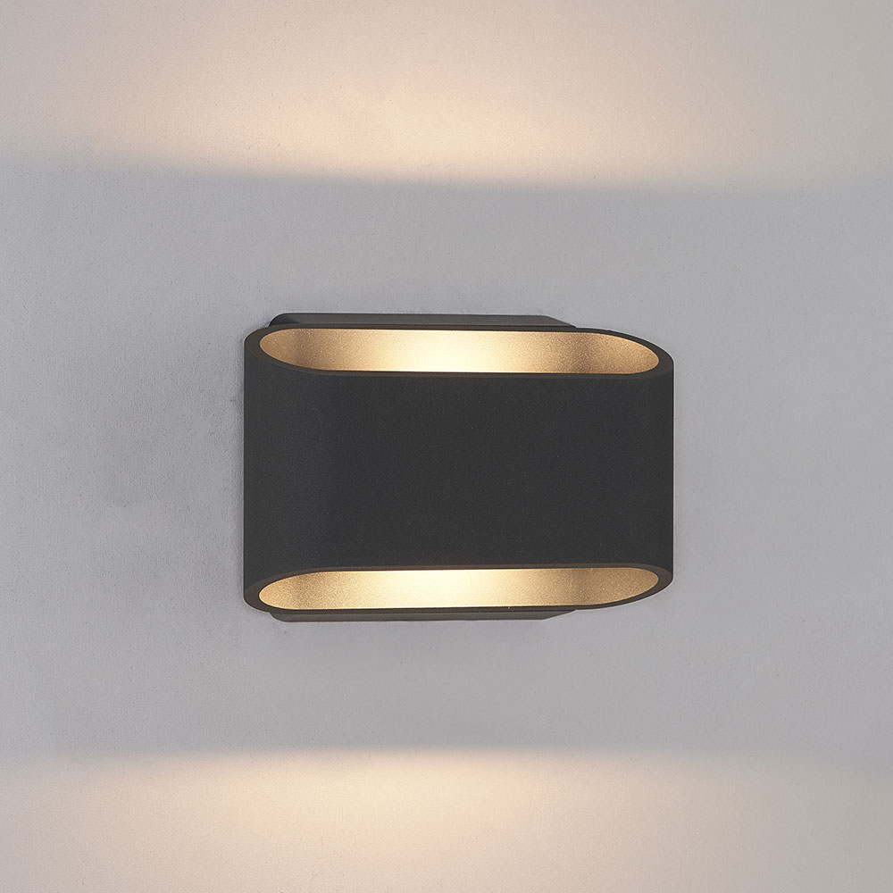 Bruck 105050bk Eclipse Contemporary Black Led Outdoor Wall