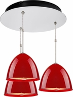 Bruck 240010CH-3-ELV-110902CH Classic Contemporary Chrome / Gypsy Red Multi Pendant Light Fixture