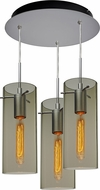 Bruck 240010MC-3-ELV-110866MC-IN Luca Contemporary Matte Chrome / Smoky Multi Hanging Lamp