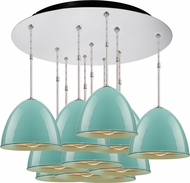 Bruck 240011CH-11-ELV-110903CH Classic Modern Chrome / Larkspur Blue Multi Drop Ceiling Lighting
