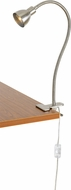 Cal BO-129-BS Gooseneck Contemporary Brushed Steel LED Clip On Light / Desk Lamp