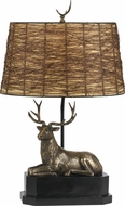 Cal BO-2597TB Deer Country Cast Bronze Table Top Lamp