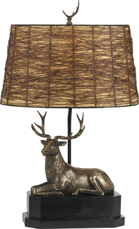 Cal BO 2597TB Deer Country Cast Bronze Table Top Lamp
