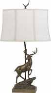Cal BO-2598TB Deer Rustic Cast Bronze Side Table Lamp