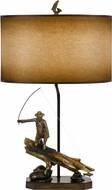 Cal BO-2657TB Fly Fishing Fisherman Country Cast Bronze Table Lighting