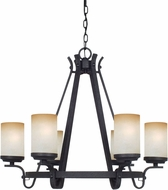 Cal FX-3504-6 Oelwein Texture Black Chandelier Light