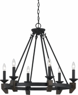 Cal FX-3517-6 Cruz Warm Bronze / Real Wood Ceiling Chandelier