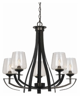 Cal FX-3550/5 Perry 17.5  Tall Organic Black Finish Chandelier