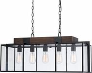 Cal FX-3582-5 Antonio Contemporary Dark Bronze/Wood Island Lighting