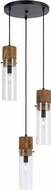 Cal FX-3583-3 Spheroid Contemporary Wood/Dark Bronze Multi Drop Ceiling Lighting