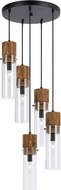 Cal FX-3583-5 Spheroid Contemporary Wood/Dark Bronze Multi Ceiling Pendant Light